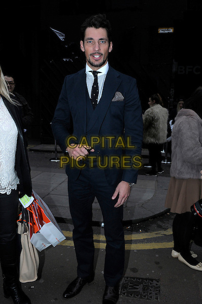David Gandy.Spotted in London, England..January 8th, 2013.full length blue suit white stripe shirt stubble facial hair .CAP/IA.©Ian Allis/Capital Pictures.