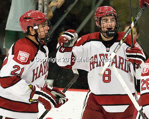 Marshall Everson (Harvard - 21), Patrick McNally (Harvard - 8) - The Harvard University Crimson defeated the visiting Bentley University Falcons 5-0 on Saturday, October 27, 2012, at Bright Hockey Center in Boston, Massachusetts.