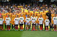 26 November 2017, Melbourne - The Australian Matildas stand for the anthem during an international friendly match between the Australian Matildas and China PR at GMHBA Stadium in Geelong, Australia.. Australia won 5-1. Photo Sydney Low
