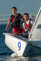 Baillie Lawless,'15, and crew JP Silvestri,'16, tack as they work together during practice in the Newport Harbor.