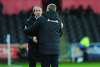 Lee Bowyer Manager of Charlton Athletic shakes hands with Steve Cooper Head Coach of Swansea City during the Sky Bet Championship match between Swansea City and Charlton Athletic at the Liberty Stadium in Swansea, Wales, UK.  Thursday 02 January 2020