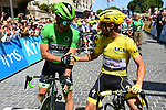 Green Jersey Peter Sagan (SVK) Bora-Hansgrohe and new race leader Yellow Jersey Julian Alaphilippe (FRA) Deceuninck-Quick Step line up for Stage 4 of the 2019 Tour de France running 213.5km from Reims to Nancy, France. 9th July 2019.<br /> Picture: ASO/Pauline Ballet | Cyclefile<br /> All photos usage must carry mandatory copyright credit (© Cyclefile | ASO/Pauline Ballet)