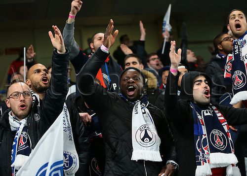 09.03.2016. Stamford Bridge, London, England. Champions League. Chelsea versus Paris Saint Germain. PSG fans sing with passion prior to kick off