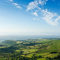 View over rural Welsh countryside from Twmpa, Black Mountains, Powys, Wales