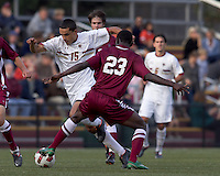 Boston College forward/midfielder Diego Medina-Mendez (15) on the attack. Boston College defeated Harvard University, 2-0, at Newton Campus Field, October 11, 2011.