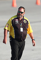 Sep 24, 2016; Madison, IL, USA; NHRA safety safari official Jeff Parker during qualifying for the Midwest Nationals at Gateway Motorsports Park. Mandatory Credit: Mark J. Rebilas-USA TODAY Sports
