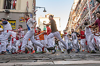 Europe,Spain,Pamplona,San Firmin festival 2018, Encierro, 8 am the bulls are released and the participants begin to run