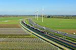 Nederland, Gelderland, Betuwe, 24-10-2013; Betuweroute, ter hoogte van Echteld. De goederenspoorlijn loopt parallel aan autosnelweg A15. De goederentrein is onderweg naar de haven van Rotterdam. Boomkwekerijen links onder in beeld, daarachter de rivier de Linge.<br /> Betuweroute, railway from Rotterdam to Germany, near Echteld. The freight railway runs parallel to highway A15. The freight is on its way to the port of Rotterdam.<br /> luchtfoto (toeslag op standaard tarieven);<br /> aerial photo (additional fee required);<br /> copyright foto/photo Siebe Swart.
