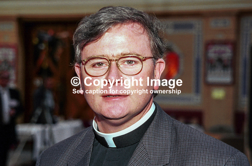 Father Pat Buckley, controversial Roman Catholic priest, N Ireland, UK. Photograph taken at 1996 Labour Party Conference. Ref: 199610003.<br /> <br /> Copyright Image from Victor Patterson,<br /> 54 Dorchester Park, <br /> Belfast, UK, BT9 <br /> <br /> t1: +44 28 9066 1296 (from Rep of Ireland 048 90661296)<br /> t2: +44 28 9002 2446 (from Rep of Ireland 048 9002 2446)<br /> <br /> m: +44 7802 353836<br /> <br /> e: victorpatterson@me.com<br /> www.victorpatterson.com<br /> <br /> Please see my Terms and Conditions of Use at www.victorpatterson.com. It is IMPORTANT that you familiarise yourself with them.<br /> <br /> Images used on the Internet must be visibly watermarked i.e. &copy; Victor Patterson<br /> within the body of the image and copyright metadata must not be deleted. Images <br /> used on the Internet have a size restriction of 4kbs and will be chargeable at current<br />  NUJ rates unless agreed otherwise.<br /> <br /> This image is only available for the use of the download recipient i.e. television station, newspaper, magazine, book publisher, etc, and must not be passed on to any third <br /> party. It is also downloaded on condition that each and every usage is notified within 7 days to victorpatterson@me.com<br /> <br /> The right of Victor Patterson to be identified as the author is asserted in accordance with The Copyright Designs And Patents Act (1988). All moral rights are asserted.