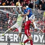 St Johnstone v Aberdeen&hellip;15.09.18&hellip;   McDiarmid Park     SPFL<br />Joe Shaughnessy puts Joe Lewis under pressure<br />Picture by Graeme Hart. <br />Copyright Perthshire Picture Agency<br />Tel: 01738 623350  Mobile: 07990 594431