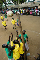 youth from Palenga and Awer camps for internally displaced persons compete in net balll at Awer camp. As part of peacebuilding efforts,  Catholic Relief Services sponsored a tournament of net ball and football to give the youth something to do in the camps. (Rick D'Elia)