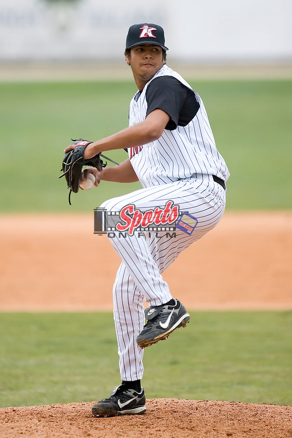 Kannapolis pitcher Clevelan Santeliz delivers a pitch versus Charleston at Fieldcrest Cannon Stadium in Kannapolis, NC, Wednesday, April 18, 2007.  The River Dogs defeated the Intimidators by the score of 1-0.