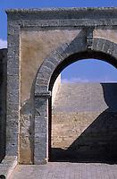 Afrique/Maghreb/Maroc/El-Jadida : Les remparts de la Citadelle Portugaise - Détail porte du Bastion de l'Ange