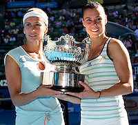 Gisela Dulko (ARG) & Flavia Pennetta (ITA) (1) against Maria Kirilenko (RUS) & Victoria Azarenka (BLR) (12) in the final of the women's doubles. Gisela Dulko & Flavia Pennetta beat Maria Kirilenko & Victoria Azarenka 2-6 7-5 6-1..International Tennis - Australian Open  -  Melbourne Park - Melbourne - Day 12 - Fri 28th January 2011..© Frey - AMN Images, Level 1, Barry House, 20-22 Worple Road, London, SW19 4DH.Tel - +44 208 947 0100.Email - Mfrey@advantagemedianet.com.Web - www.amnimages.photshelter.com