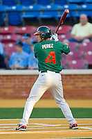 Stephen Perez #4 of the Miami Hurricanes at bat against the Wake Forest Demon Deacons at Gene Hooks Field on March 18, 2011 in Winston-Salem, North Carolina.  Photo by Brian Westerholt / Four Seam Images