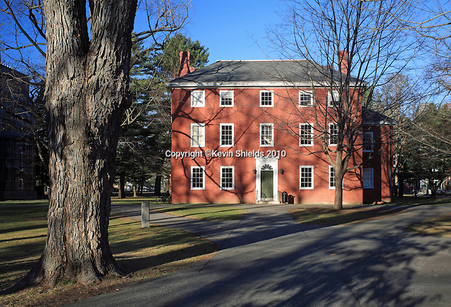 View of Massachusetts Hall, Bowdoin College, Brunswick, Maine, USA