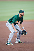 Lynchburg Hillcats third baseman Paul Hendrix (4) on defense against the Winston-Salem Dash at BB&T Ballpark on May 29, 2015 in Winston-Salem, North Carolina.  The Dash defeated the Hillcats 8-1.  (Brian Westerholt/Four Seam Images)