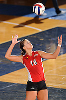 20 November 2008:  Western Kentucky outside hitter Abbie Siljendahl (16) serves during the WKU 3-0 victory over Denver in the first round of the Sun Belt Conference Championship tournament at FIU Stadium in Miami, Florida.