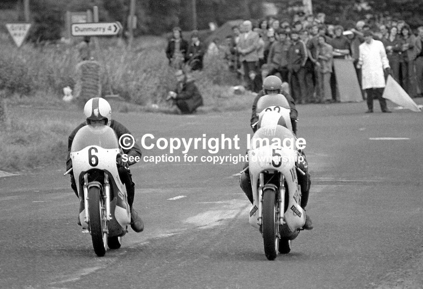 Derek Chatterton, British, rider, racing motorcyclist on bike 5 goes head to head with ??????, on bike 6, at the  hairpin at the Dundrod circuit, N Ireland. Chatterson was competing in 1973 Ulster Grand Prix. Can you positively idenitify the other riders? If so please let me know. 197308180571DC1.<br />