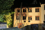 Two units from Drogheda Fire Service  backed up by Fire units from Dunleer and Dundalk at a house fire in Flaxmill lane in Drogheda.<br /> The flames could be seen coming through he roof of the 3 story dwelling when the fire service arrived on scene. There was no reported injuries at the time of the fire.<br /> Picture Newsfile | Fran Caffrey