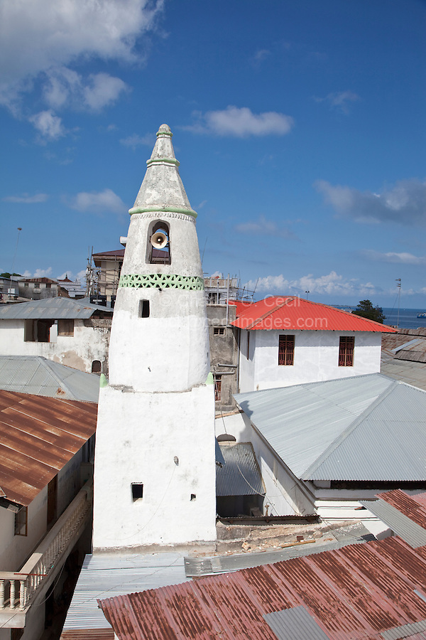 Stone Town, Zanzibar, Tanzania.  Conical Minaret of the Malindi Bamnara Mosque, Stone Town's Oldest.  Also sometimes simply called the Mnara Mosque.  17th Century.