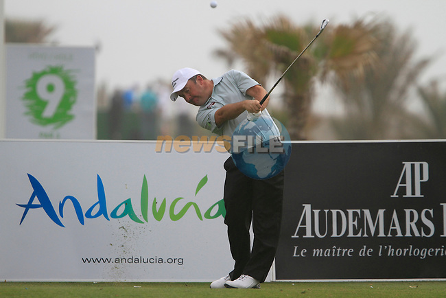 Damien McGrane (IRL) in action on the 9th tee during Day 2 Friday of the Open de Andalucia de Golf at Parador Golf Club Malaga 25th March 2011. (Photo Eoin Clarke/Golffile 2011)