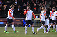 Jack Marriott of Luton Town celebrates his goal during the Sky Bet League 2 match between York City and Luton Town at Bootham Crescent, York, England on 27 February 2016. Photo by Liam Smith.