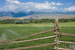 Cloud shadows on the Bitteroot Range between Idaho and Montana, and an irrigated pasture beyond a rustic fence North of Salmon Idaho.