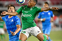 Saint-Etienne forward Arnaud Nordin (18) watches the ball as he jumps for it with Marseille defender Hiroki Sakai (2) during the EA Sports Ligue 1 Games championship match between Olympique de Marseille and AS Saint-Etienne July 21, 2019 at Audi Field in Washington, D.C..