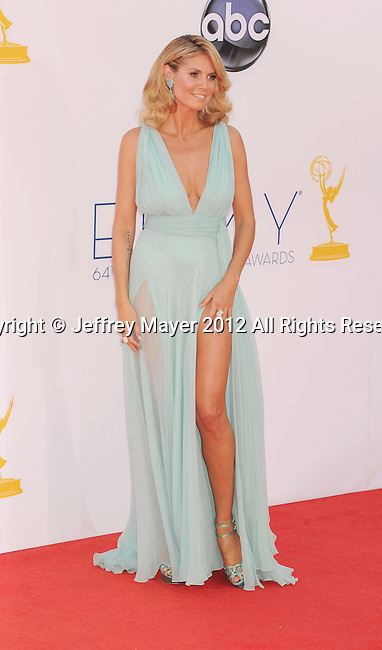 LOS ANGELES, CA - SEPTEMBER 23: Heidi Klum arrives at the 64th Primetime Emmy Awards at Nokia Theatre L.A. Live on September 23, 2012 in Los Angeles, California.