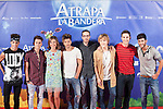 Film director Enrique Gato, actors Michelle Jenner and Dani Rovira and music band Auryn pose during `Atrapa la bandera´ film presentation in Madrid, Spain. August 26, 2015. (ALTERPHOTOS/Victor Blanco)