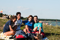 Four scouts have had a great time so far at the jamboree and at the beach today. Photo: Audun Ingebrigtsen / Scouterna