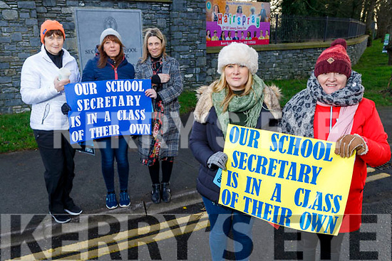 Mercy Mounthawk Admin staff on a one day strike at the school on Friday.  <br /> Front l to r: Annie Lyons and Bria Keane.<br /> Back l to r: Mary Savage, Helen Cunningham and Jennifer Bailey.