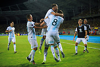 PEREIRA, COLOMBIA - JANUARY 18:  Argentina's players celebrate a goal against Colombia during their CONMEBOL Pre-Olympic soccer game at the Hernan Ramirez Villegas Stadium on January 18, 2020 in Pereira, Colombia. (Photo by Daniel Munoz/VIEW press/Getty Images)