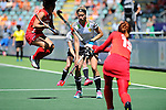 The Hague, Netherlands, June 13: Hannah Gablac #26 of Germany defends during the match during the field hockey placement match (Women - Place 7th/8th) between Korea and Germany on June 13, 2014 during the World Cup 2014 at Kyocera Stadium in The Hague, Netherlands. Final score 4-2 (2-0)  (Photo by Dirk Markgraf / www.265-images.com) *** Local caption ***