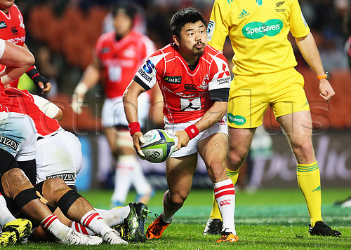 April 29th 2017, FMG Stadium Waikato, Hamilton, New Zealand; Super Rugby; Chiefs versus Sunwolves;  Sunwolves halfback Fumiaki Tanaka passes during the Super Rugby rugby match