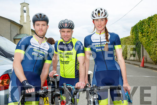 At the  John Drumm Cycle Race, Currow on Sunday were Denis Dunworth, Gary McDonnell and Laura Shannon