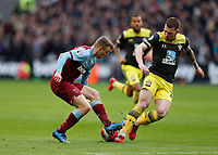 29th February 2020; London Stadium, London, England; English Premier League Football, West Ham United versus Southampton; Jarrod Bowen of West Ham United cuts back inside and  past Pierre-Emile Hojbjerg of Southampton