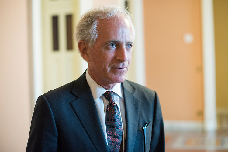 UNITED STATES - MAY 17: Sen. Bob Corker, R-Tenn., talks with reporters after a vote in the Capitol on May 17, 2017. (Photo By Tom Williams/CQ Roll Call)