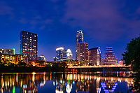 Ausin Skyline after Dark -  We capture another image from the hike and bike trail of the Austin skyline at dark.   The Austin Skyline was reflected into the waters along the hike and bike trail on Lady Bird Lake.  It is a wonderful view along the Lady Bird Lake and all the trails at night as you walk, run or just sitting enjoying the view from Vic Mathais Shore formally Auditorium Shores.