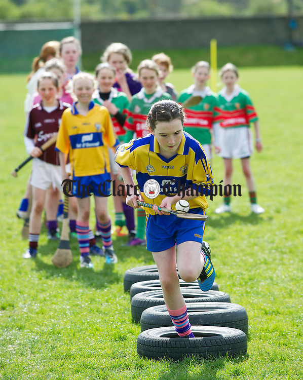 Ballyea's Emily Barry on the obstacle course during the camogie and hurling Easter camp at Tulla GAA field. Photograph by John Kelly.