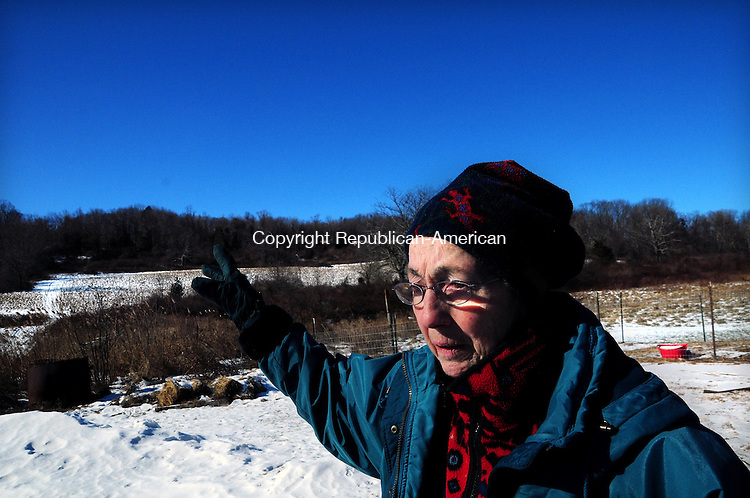 THOMASTON, CT, 26 JAN 13-012613AJ02-  Lois Fenn Schenkel, who grew up on a farm now owned by her nephew Patrick Losee, recalls farming as a child on Saturday. She is worried her relatives may lose the land if it is no longer considered farm land and given a lower assessment.   Alec Johnson/ Republican-American