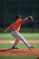 Baltimore Orioles pitcher DL Hall (39) delivers a pitch during an Instructional League game against the New York Yankees on September 23, 2017 at the Yankees Minor League Complex in Tampa, Florida.  (Mike Janes/Four Seam Images)