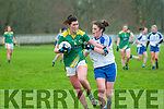 Kerry's Lorraine Scanlon wins  the ball ahead of Monaghan's Muireann Atkinson in the Ladies national Football League  round 4 clash at Listowel Emmets GAA ground on Sunday last.
