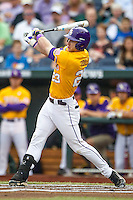 LSU Tigers outfielder Jake Fraley (23) follows through on his swing against the TCU Horned Frogs in Game 10 of the NCAA College World Series on June 18, 2015 at TD Ameritrade Park in Omaha, Nebraska. TCU defeated the Tigers 8-4, eliminating LSU from the tournament. (Andrew Woolley/Four Seam Images)