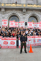 Ron Luce, the President and Founder of Teen Mania Ministries, and a large support group rally in front of San Francisco City Hall on the eve of Battle Cry SF (faith worship). The group has experience unwelcoming tension in the past from the city, as they did this year. San Francisco, California