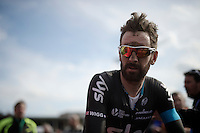 post-race face by Sir Bradley Wiggins (GBR/Sky) (and his last outing in the Team SKY kit)<br /> <br /> 113th Paris-Roubaix 2015