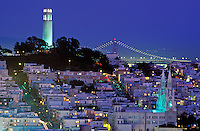 USA, California, San Francisco. The Coit Tower in North Beach illuminated at nigh
