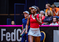 Den Bosch, The Netherlands, Februari 9, 2019,  Maaspoort , FedCup  Netherlands - Canada, second match : Francoise Abanda (CAN) celebrates, the wins the first set<br /> Photo: Tennisimages/Henk Koster