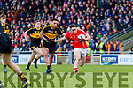 Michael Burns, Dr Crokes in action against Paudie Clifford, East Kerry  during the Kerry County Senior Club Football Championship Final match between East Kerry and Dr. Crokes at Austin Stack Park in Tralee, Kerry.